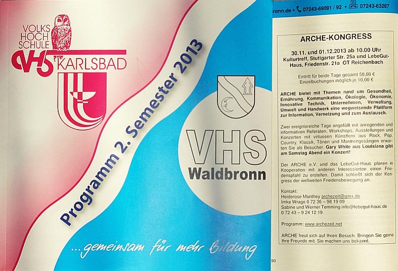 ARCHE-Foto Waldbronn VHS Waldbronn ARCHE-KONGRESS 2013