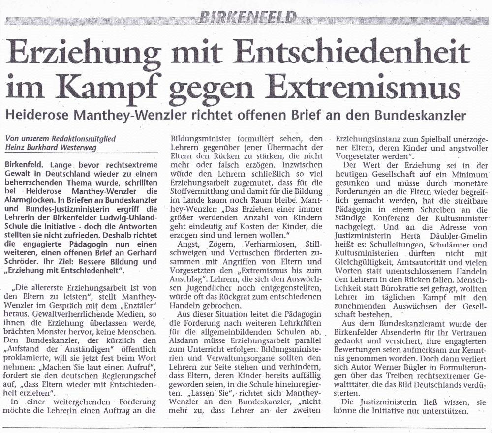 Erziehen mit Entschiedenheit im Kampf gegen Extremismus