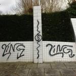 Verschlungen. Graffiti.