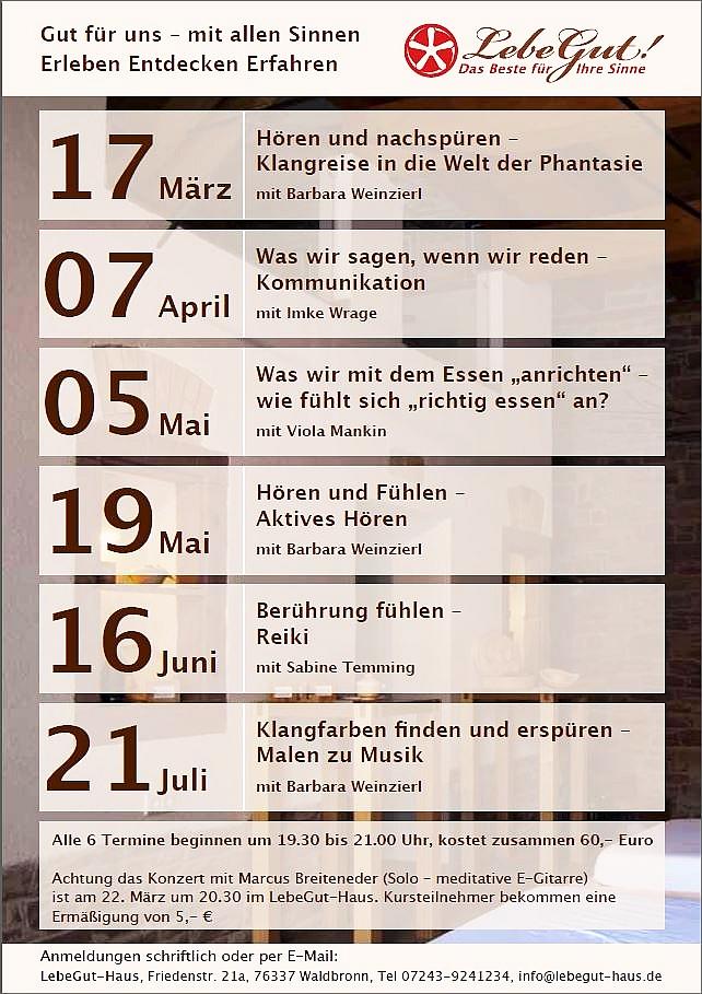 Veranstaltungen 1. Halbjahr 2014
