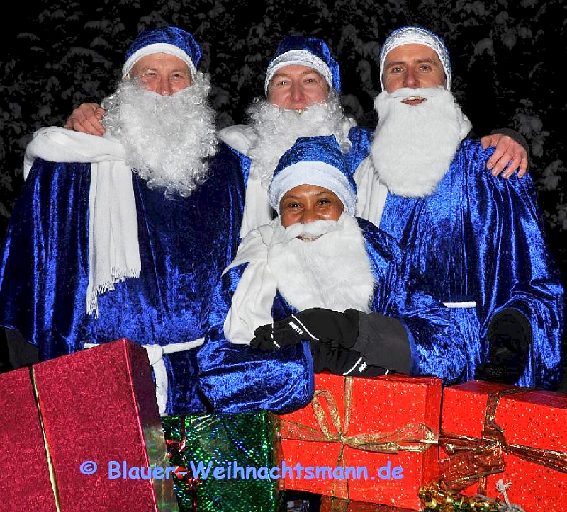 Martin Ostendorf fotografierte. Blaue Weihnachtsmänner. Hamburg.
