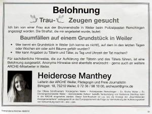 """Belohnung. Öffentliche Antwort auf die Falschbezichtigung """"Baumfällungen""""."""