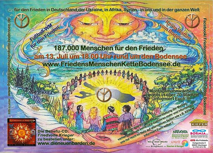 Werbefoto für die Friedenskette um den Bodensee.