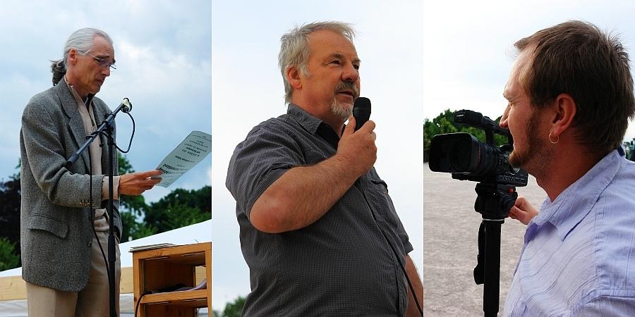 Redner-Trio. Köhler. Theophil. Harwardt. Friedensbewegungen und ihre Potenz für unser aller Zukunft. Foto: Heiderose Manthey