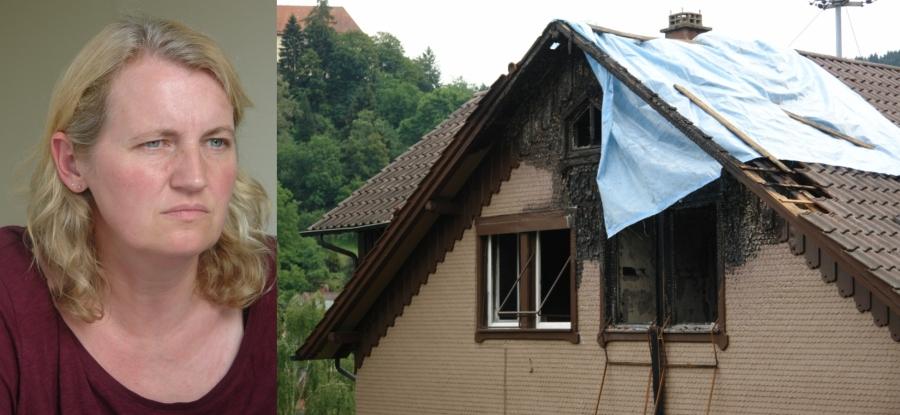 Ein Feuer vernichtete alles. Imke Wrage, 2. Vorsitzende des ARCHE e.V. überreichte gestern dem betroffenen Künstler erste Spendengelder. Der ARCHE e.V. ruft weiterhin zum Spenden auf.