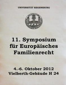 Ankündigung des 11. Symposiums für Europäisches Familienrecht in der Universität Regensburg