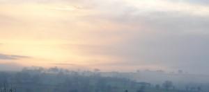 Wohltuende Morgenstimmung vor dem Sonnenhaus. ARCHE Weiler.