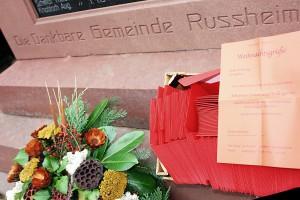 Die dankbare Gemeinde Rußheim. Denkmal.
