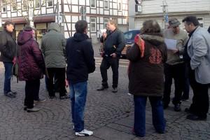 Burgdorf. Demo gegen Gewalt an Kindern. Klaus-Uwe Kirchhoff spricht.