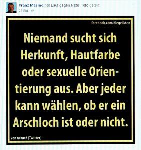 """Franz Masino postet dieses Foto von """"Laut gegen Rechts"""" auf seiner Facebook-Seite."""