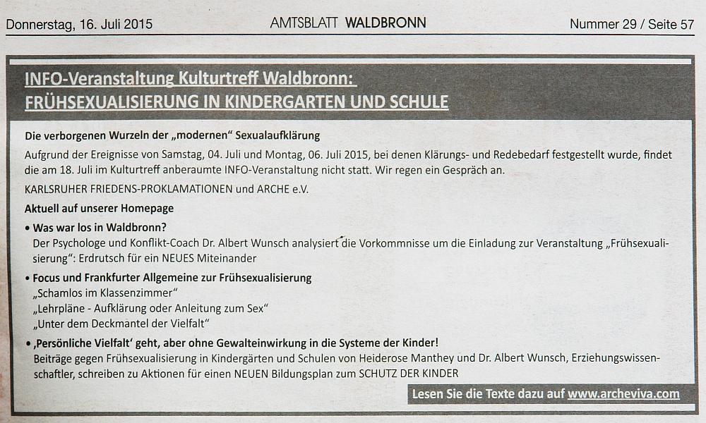 Annonce des ARCHE e.V. in den den Waldbronner Gemeindenachrichten.