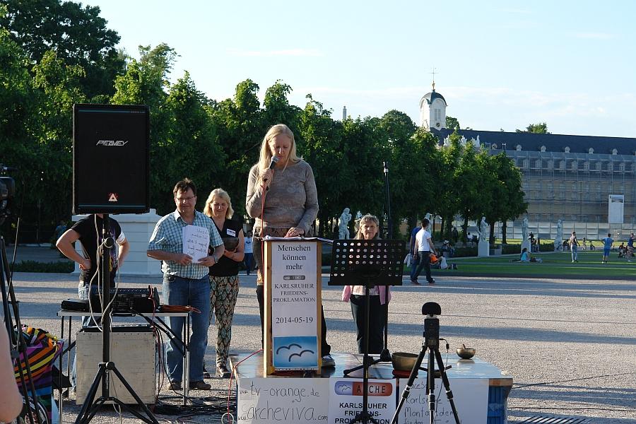 Rede zur Eröffnung der 1. KARLSRUHER FRIEDENS-PROKLAMATION gehalten von Heiderose Manthey