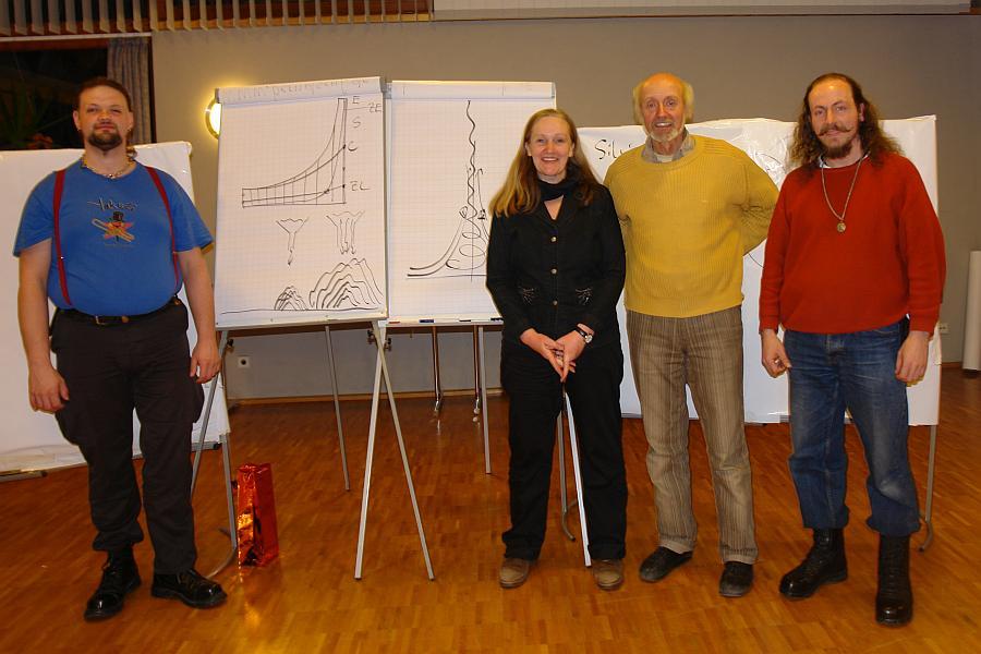 v.l.: Matthias Böttcher, Heiderose Manthey, Prof. Dr. Bernd Senf und André Ott (Wir in Keltern) beim Vortrag von Bernd Send in Keltern-Dietlingen.