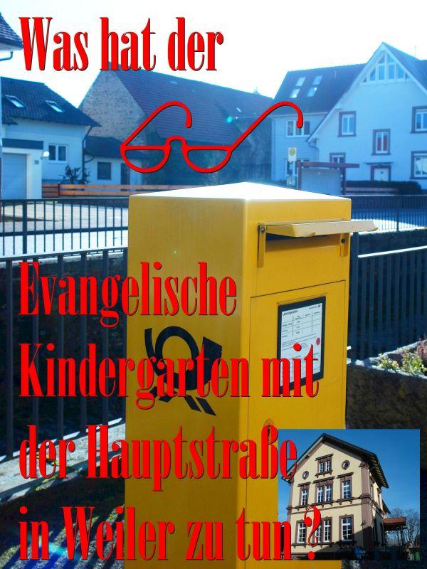 Was hat der Evangelische Kindergarten in Keltern-Weiler mit der Hauptstraße zu tun ? Wurde die Leiterin manipuliert ?