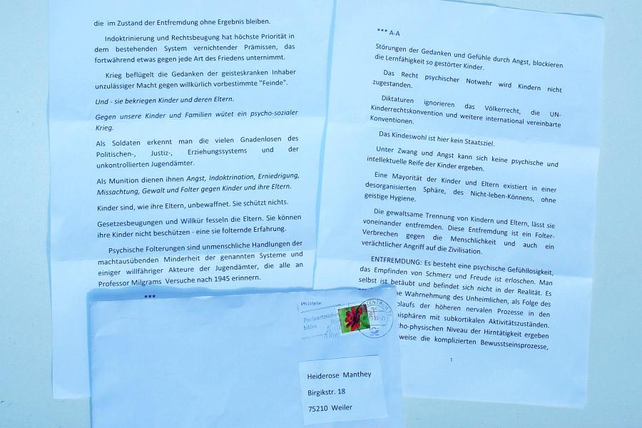 Anonymer Brief an ARCHE.