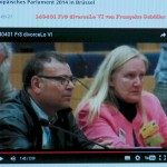 Heiderose Manthey spricht auf der Pressekonferenz im Europäischen Parlalment. Neben ihr: Wahid Ben Alaya.