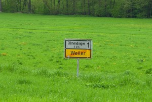 Das Ende eines Dorfes. Ein Weiler.