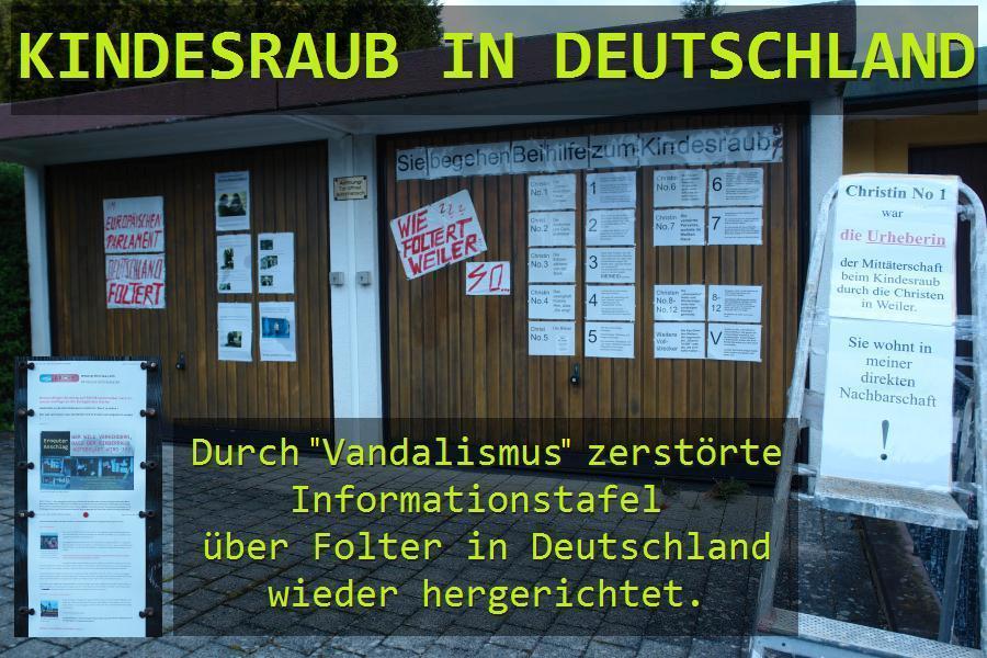 Die zerstörte INFO-WAND über kid - eke - pas in Deutschland.