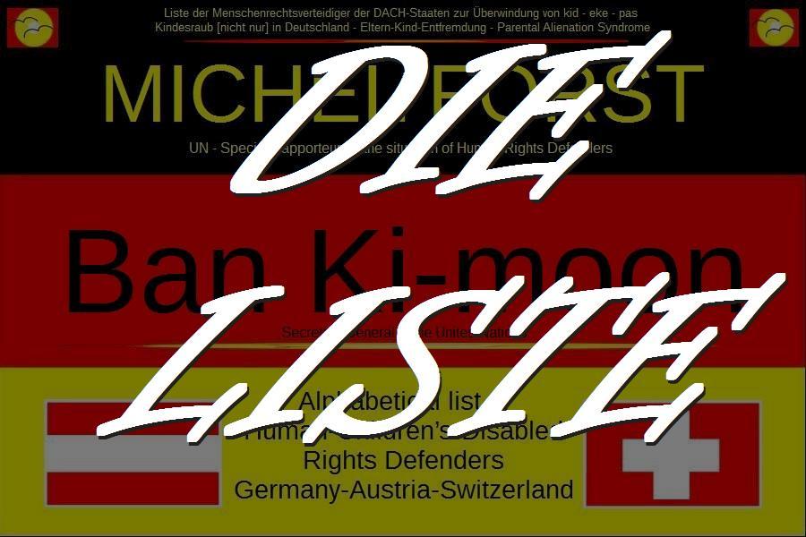 Die Liste. Human Rights Defenders aus Deutschland, Österreich, Schweiz und Schweden.
