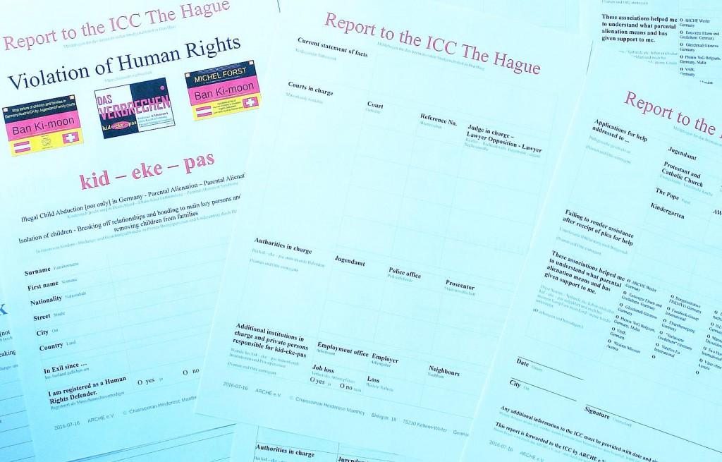 So sieht der Meldebogen an den ICC in Den Haag aus. Füllt ihn in Englischer Sprache aus. Holt Euch Hilfe, wenn nötig !
