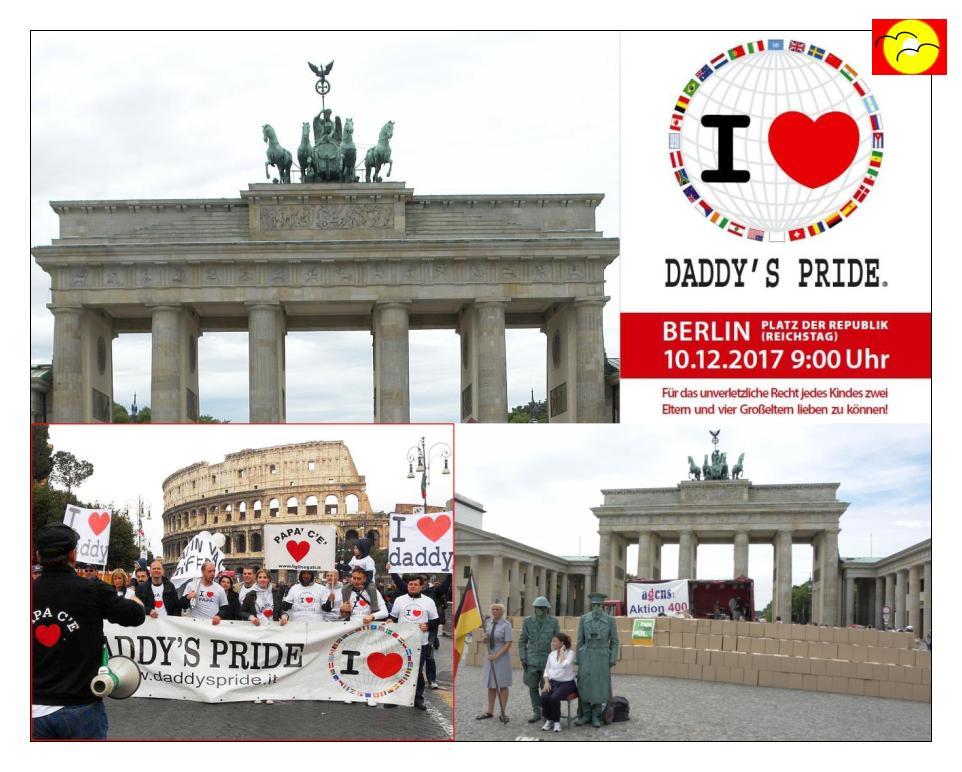 Heute in Berlin. Aktion zum Bindungserhalt zwischen Kindern und Eltern und Großeltern und Geschwistern.