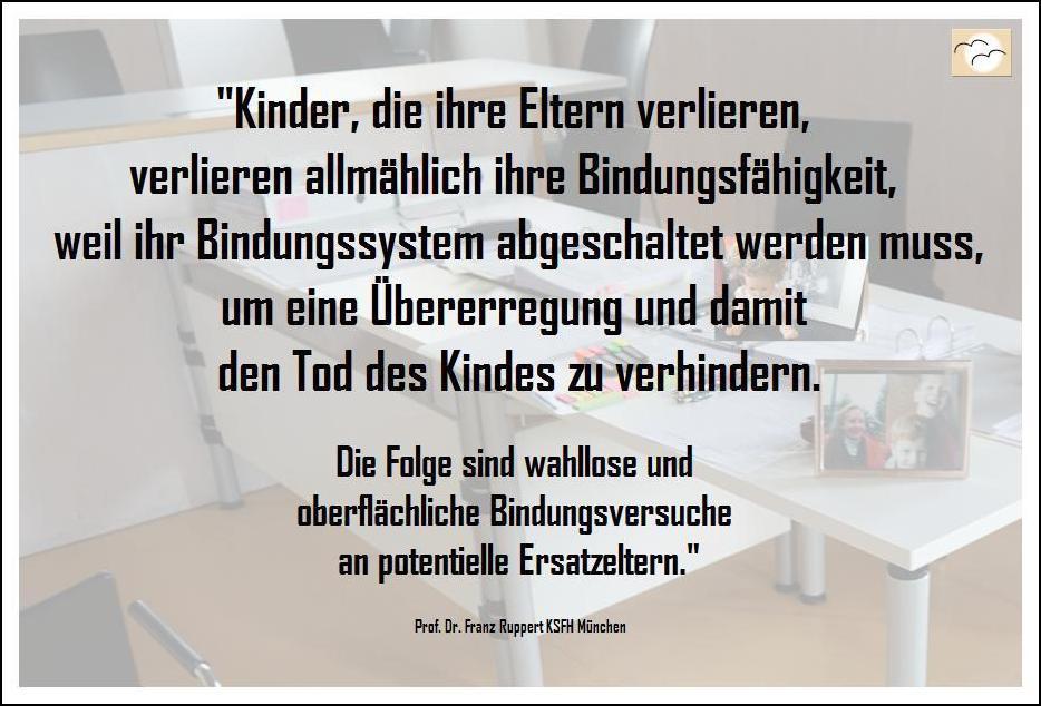 Zitat über Verlusttrauma aufgrund von Mutter- oder Vater- oder Eltern-Verlust von Prof. Dr. Franz Ruppert, führender Psychotraumatologe.