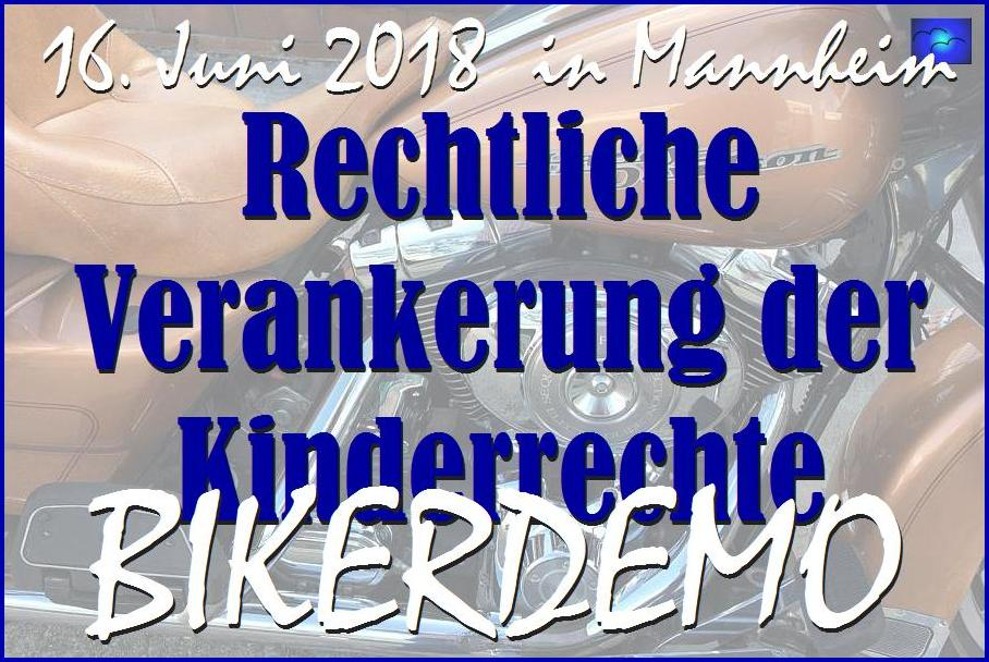 Startschuss der BIKERDEMO für die Rechte der Kinder am 16. Juni 2018 in Mannheim.
