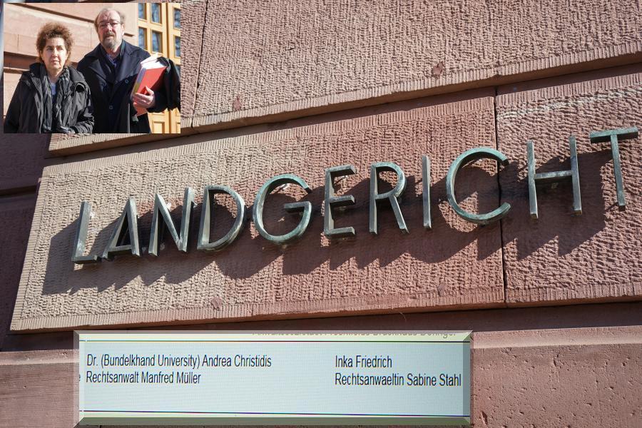Vor dem Landtgericht Gießen: Dr. (Bundelkhand University) Andrea Christidis und Rechtsanwalt Müller ./. Inka Friedrich und Rechtsanwältin Sabine Stahl.