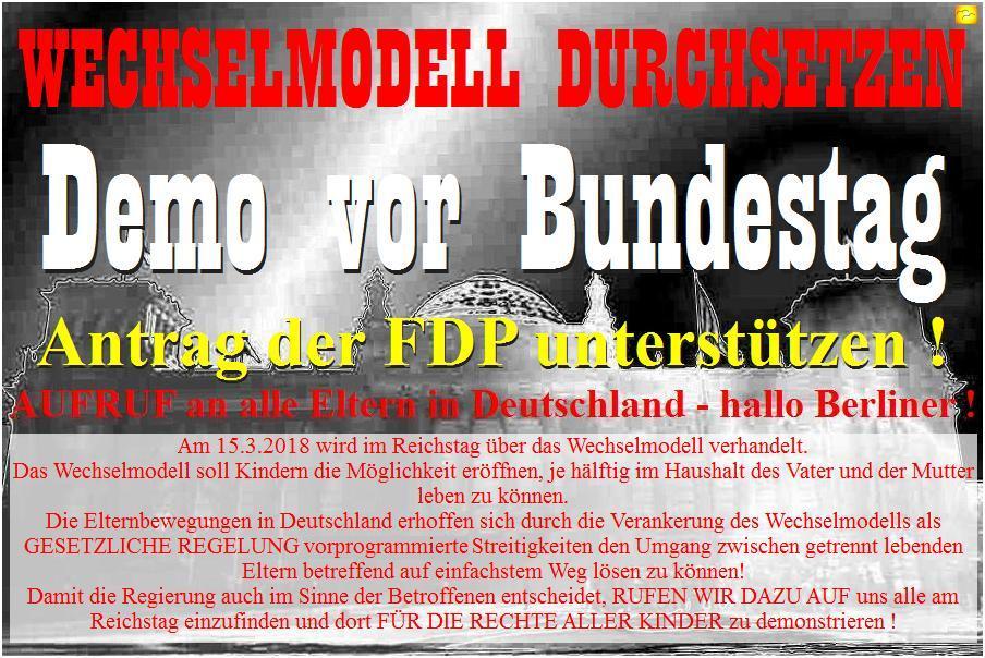 Geplante Demo zur Unterstützung des Antrags der FDP in Vorbereitung durch FB-Gruppe 15.3. Reichstag.