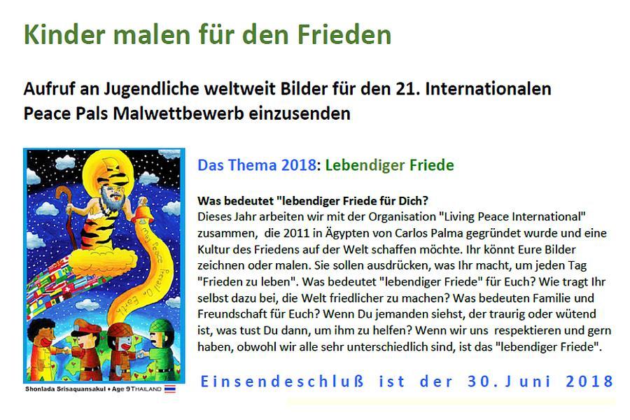 """Diesjähriger Malwettbewerb steht unter dem Motto """"Lebendiger Friede""""."""
