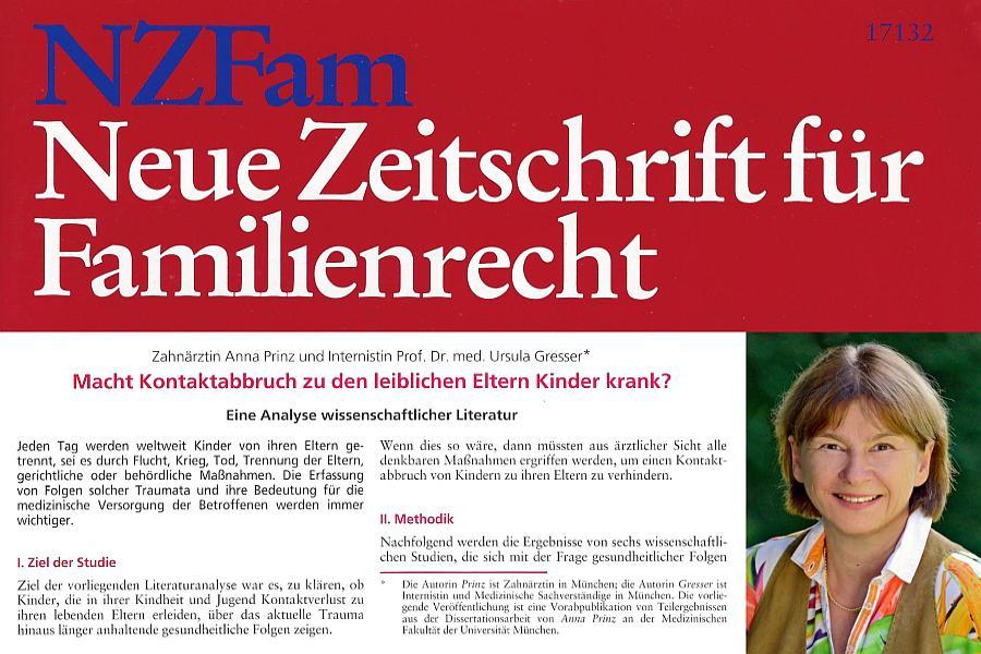 Sie erstellte eine Analyse wissenschaftlicher Literatur über die Folgen des Kontaktabbruchs zu den leiblichen Eltern. Prof. Dr. Ursula Gresser. NZFam hier bestellen.