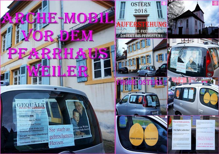 AUFKLÄRUNG über kid – eke – pas vor Ort: FROHE (!) OSTERN. ARCHE-MOBIL an der Hauptstraße in Weiler – vor dem Pfarrhaus.