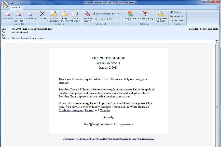 Bestätigung. ARCHE-Mail an den Präsidenten ist im Weißen Haus eingegangen.