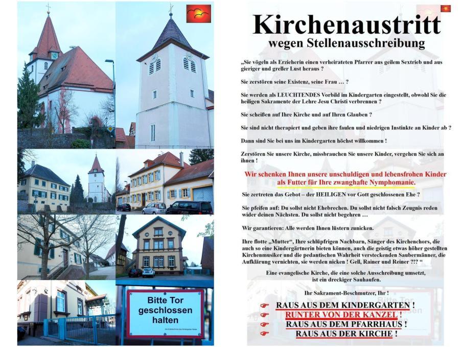 """Ist auch die Kirche in Keltern-Ellmendingen und Keltern-Weiler von dem christlichen Zerfall betroffen, von der Aufweichung der Sakramente und Gebote ? Gehören auch der Evangelische Kindergarten, die Kirchengemeinderäte und Teile der """"christlichen"""" Gesellschaft dazu ?"""