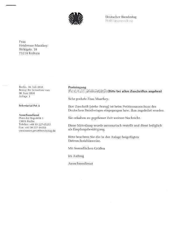 Eingangsbestätigung beim Ausschuss für Recht und Verbraucherschutz. Deutscher Bundestag. Berlin.