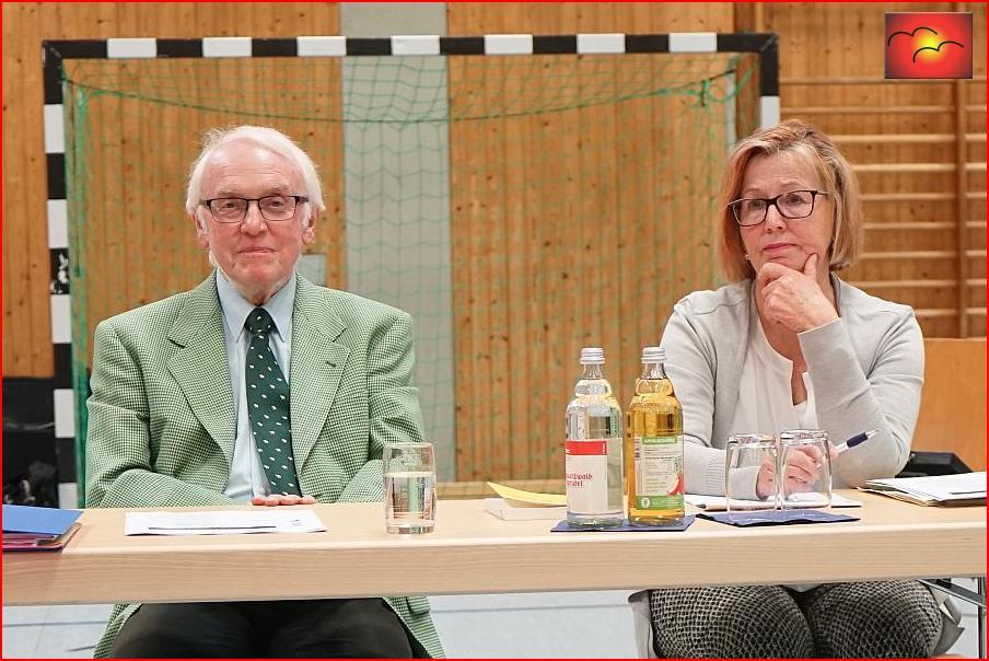 Professor Jourdan und Hauptamtsleiterin Karla Arp. Zielgerichtet. In folgeschwerer Position: Lassen Sie die Elfmeter der Bürger ins Tor ?